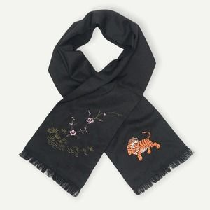 Urban Outfitters Embroidered Satin Tiger Scarf